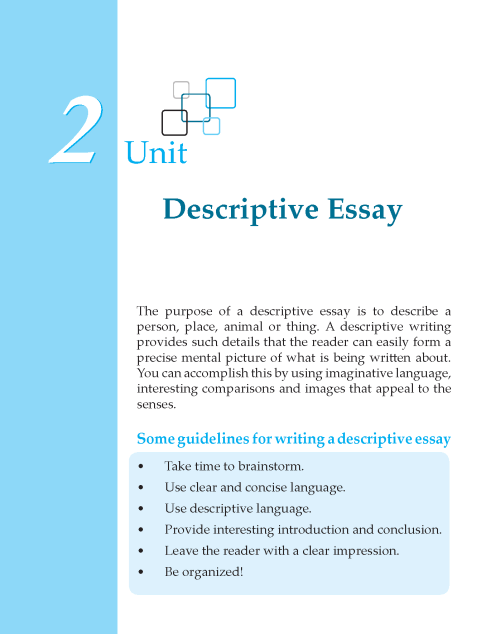 descriptive essay writing skills Whether you call it a descriptive essay or an essay of description, your goal is to establish a dominant impression as the controlling idea of your essay.