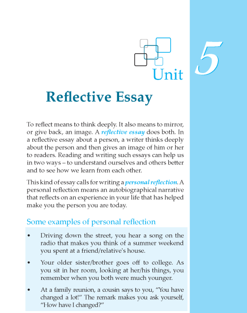 reflection essay title Titles of shorter works, such as a poem or short story, should be put in quotation  marks you should only underline the titles of full-length works if your essay is.