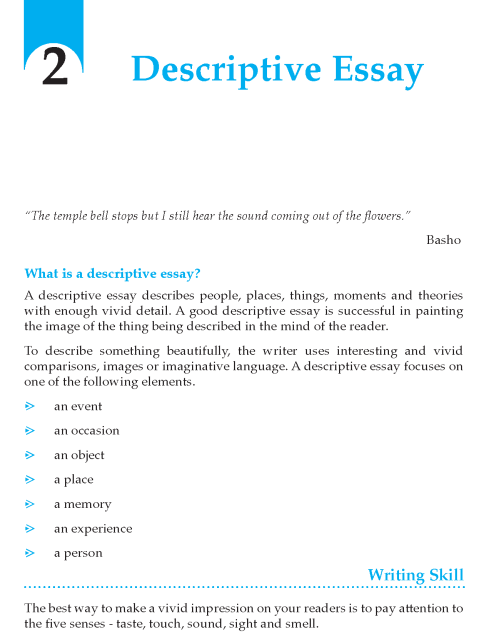 Grade 9 Descriptive Essay | Composition Writing Skill